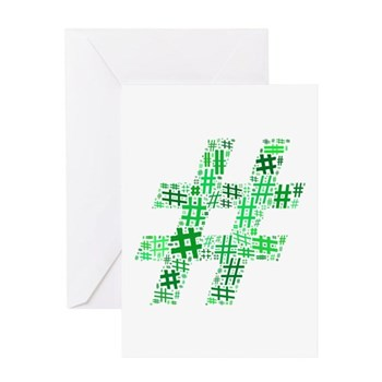 Green Hashtag Cloud Greeting Card