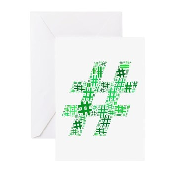 Green Hashtag Cloud Greeting Cards (20 pack)