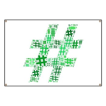 Green Hashtag Cloud Banner
