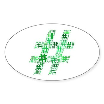 Green Hashtag Cloud Oval Sticker (10 pack)