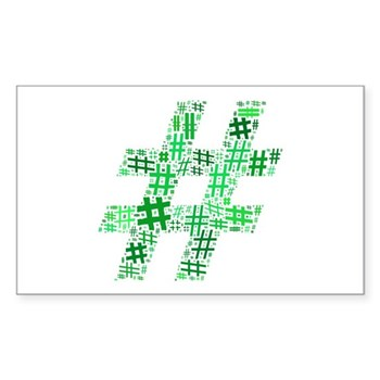 Green Hashtag Cloud Rectangle Sticker (10 pack)