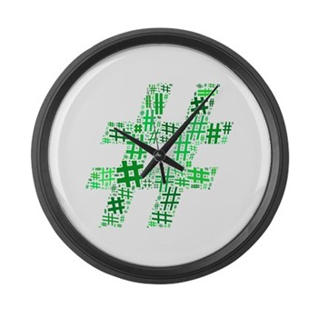 Green Hashtag Cloud Large Wall Clock