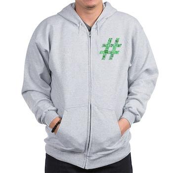 Green Hashtag Cloud Zip Hoodie