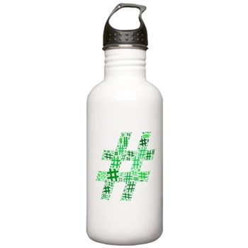 Green Hashtag Cloud Stainless Water Bottle 1.0L