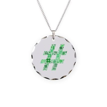 Green Hashtag Cloud Necklace Circle Charm