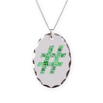 Green Hashtag Cloud Necklace Oval Charm