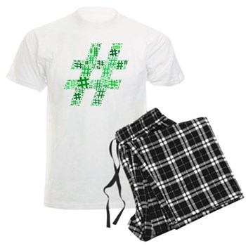 Green Hashtag Cloud Men's Light Pajamas
