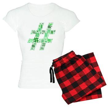 Green Hashtag Cloud Women's Light Pajamas