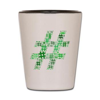 Green Hashtag Cloud Shot Glass