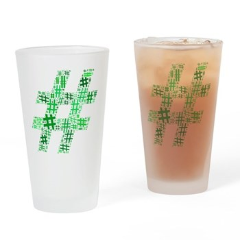 Green Hashtag Cloud Drinking Glass