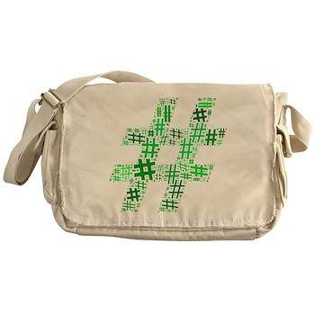 Green Hashtag Cloud Canvas Messenger Bag