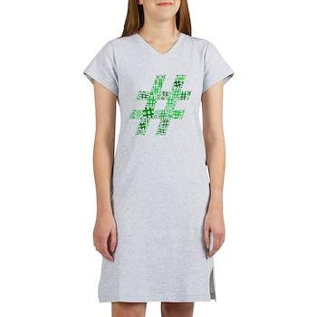 Green Hashtag Cloud Women's Nightshirt