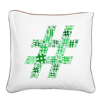 Green Hashtag Cloud Square Canvas Pillow