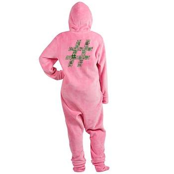 Green Hashtag Cloud Footed Pajamas