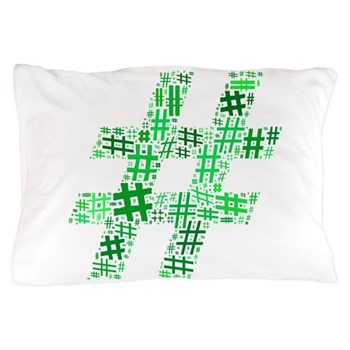 Green Hashtag Cloud Pillow Case