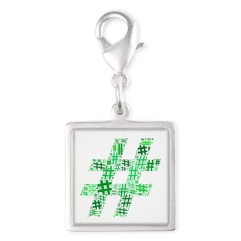 Green Hashtag Cloud Silver Square Charm