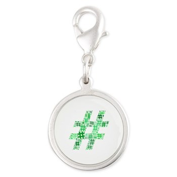 Green Hashtag Cloud Silver Round Charm