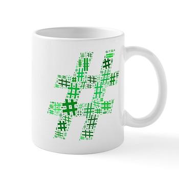 Green Hashtag Cloud Mug
