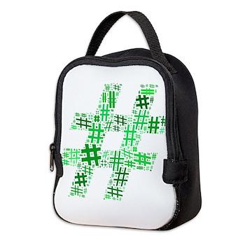 Green Hashtag Cloud Neoprene Lunch Bag