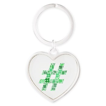 Green Hashtag Cloud Heart Keychain