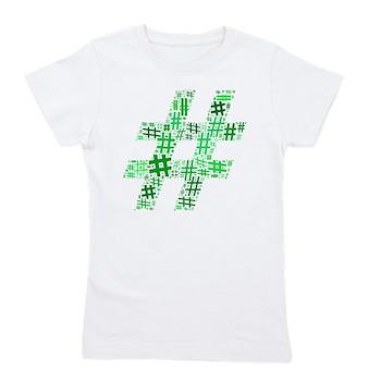 Green Hashtag Cloud Girl's Tee