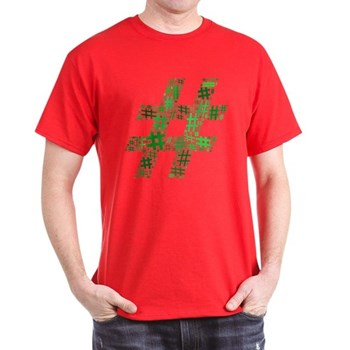Green Hashtag Cloud Dark T-Shirt