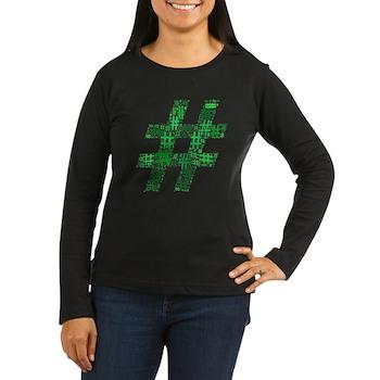 Green Hashtag Cloud Women's Dark Long Sleeve T-Shi