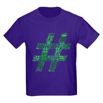 Green Hashtag Cloud Kids Dark T-Shirt