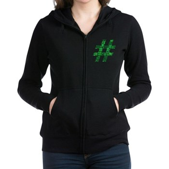 Green Hashtag Cloud Women's Zip Hoodie
