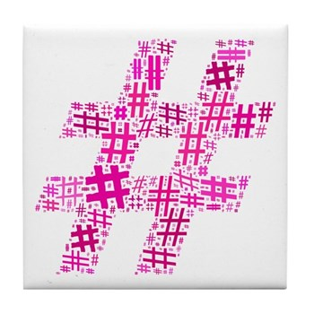 Pink Hashtag Cloud Tile Coaster