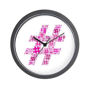 Pink Hashtag Cloud Wall Clock