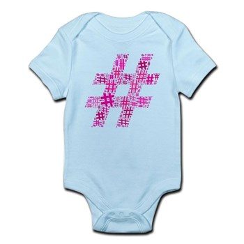 Pink Hashtag Cloud Infant Bodysuit