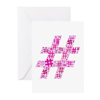 Pink Hashtag Cloud Greeting Cards (Pk of 10)