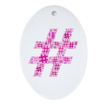 Pink Hashtag Cloud Ornament (Oval)