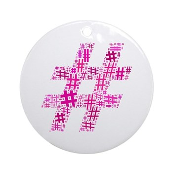 Pink Hashtag Cloud Ornament (Round)