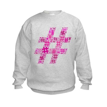 Pink Hashtag Cloud Kids Sweatshirt