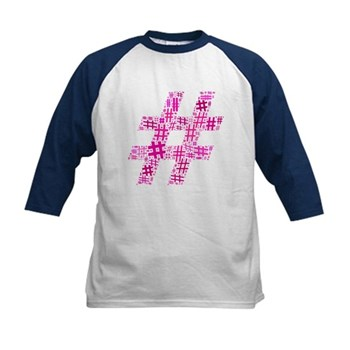Pink Hashtag Cloud Kids Baseball Jersey