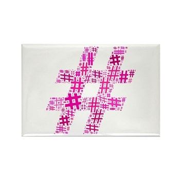 Pink Hashtag Cloud Rectangle Magnet