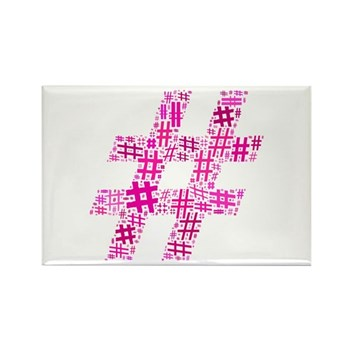 Pink Hashtag Cloud Rectangle Magnet (100 pack)