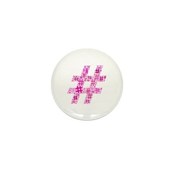 Pink Hashtag Cloud Mini Button