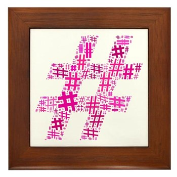 Pink Hashtag Cloud Framed Tile