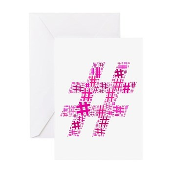 Pink Hashtag Cloud Greeting Card
