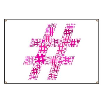 Pink Hashtag Cloud Banner