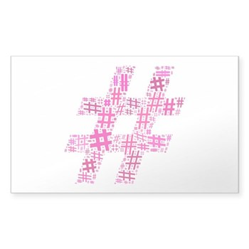 Pink Hashtag Cloud Sticker (Rectangle 50 pk)