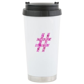 Pink Hashtag Cloud Stainless Steel Travel Mug
