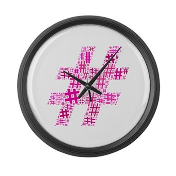 Pink Hashtag Cloud Large Wall Clock