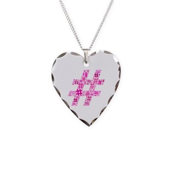 Pink Hashtag Cloud Necklace Heart Charm
