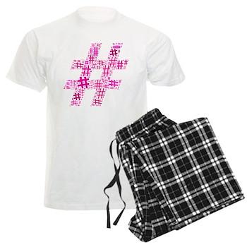 Pink Hashtag Cloud Men's Light Pajamas