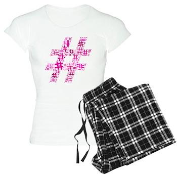 Pink Hashtag Cloud Women's Light Pajamas