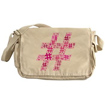 Pink Hashtag Cloud Messenger Bag